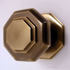 Aston Centre Door Knob Octagonal Cushion Antique Brass Unlacquered