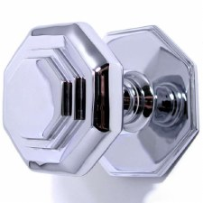 Octagonal Cushion Centre Door Knob Polished Chrome