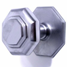 Octagonal Cushion Centre Door Knob Satin Chrome