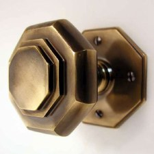 Aston Octagonal Cushion Mortice Door Knobs Antique Brass Unlacquered