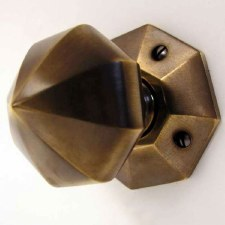 Aston Octagonal Door Knobs Antique Brass Unlacquered 77mm