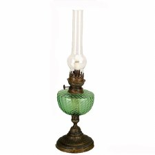 Green Bowl Oil Lamp with Round Base