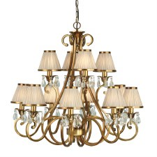 Interiors 1900 Oksana 12 Light Chandelier Antique Brass Beige Shades
