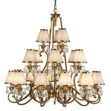 Interiors 1900 Oksana 21 Light Chandelier Antique Brass Beige Shades