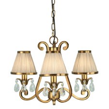 Interiors 1900 Oksana 3 Light Chandelier Antique Brass Beige Shades