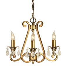 Interiors 1900 Oksana 3 Light Chandelier Antique Brass