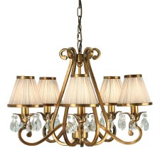 Interiors 1900 Oksana 5 Light Chandelier Antique Brass Beige Shades