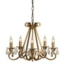 Interiors 1900 Oksana 5 Light Chandelier Antique Brass