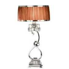Interiors 1900 Oksana Table Lamp Nickel Chocolate Shade