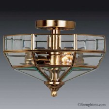 Elstead Old Park Flush Ceiling Light Antique Brass