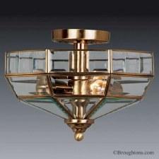Elstead Old Park Flush Ceiling Light Antique Brass
