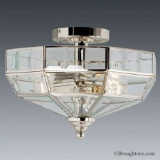 Elstead Old Park Flush Ceiling Light Nickel