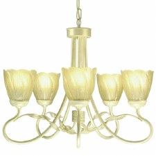 Elstead Olivia 5 Arm Chandelier Ivory Gold