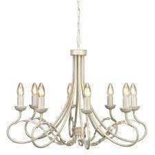 Elstead Olivia 8 Light Chandelier Ivory Gold