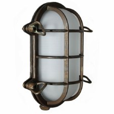 Oval Bulkhead Flush Outdoor Wall Light Aged Copper