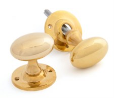 From The Anvil Oval Mortice or Rim Door Knobs Polished Brass