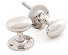 From The Anvil Oval Mortice or Rim Door Knobs Polished Nickel