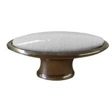Oval Porcelain Cupboard Knob White Crackle & Pewter