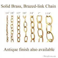 "Solid Brass Oval Link Chain 3/8"" Brass"