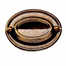 Armac Oval Plate Drawer Pull Handle Plain Antique Brass