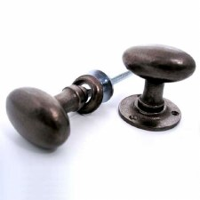 Aston Oval Rim Door Knobs 59mm Rustic Solid Bronze