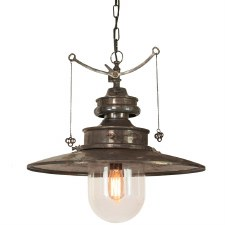 Paddington Station Large Hanging Lantern Light Antique Brass with Clear Glass