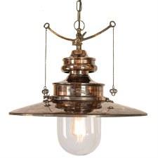 Paddington Station Large Hanging Lantern Renovated Brass with Clear Glass
