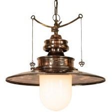 Paddington Station Large Hanging Lantern Renovated Brass with Opal Glass