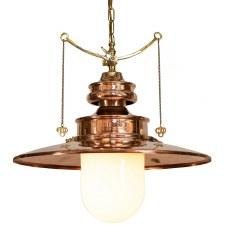 Paddington Station Large Hanging Lantern Polished Brass with Opal Glass
