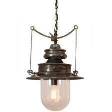 Paddington Station Hanging Lantern Polished Brass with Clear Glass