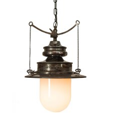 Paddington Station Hanging Lantern Antique Brass with Opal Glass