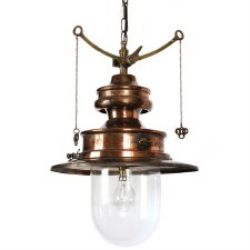 Paddington Station Hanging Lantern Light Antique Brass with Clear Glass