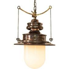 Paddington Station Hanging Lantern Renovated Brass with Opal Glass