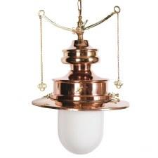 Paddington Station Hanging Lantern Polished Brass with Opal Glass