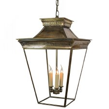 Pagoda Hanging Lantern Large Light Antique Brass