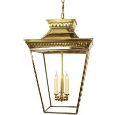 Pagoda Hanging Lantern Large Polished Brass