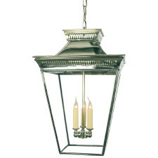 Pagoda Hanging Lantern Large Polished Nickel