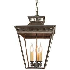 Pagoda Hanging Lantern Medium 3 Cluster Light Antique Brass