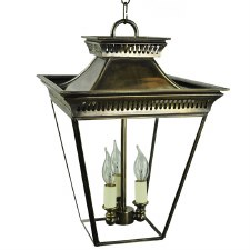 Pagoda Hanging Lantern Medium 3 Cluster Light, Light Antique Brass