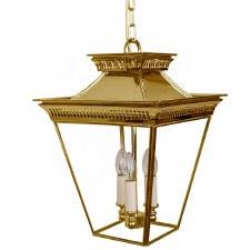 Pagoda Hanging Lantern Medium 3 Cluster Light Polished Brass Unlacquered