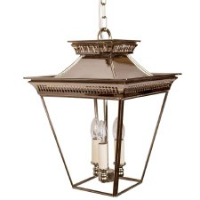 Pagoda Hanging Lantern Medium 3 Cluster Light Nickel