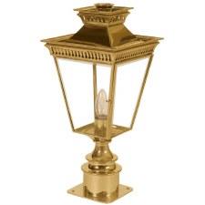 Pagoda Short Pedestal Lantern Polished Brass