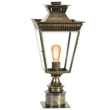 Pagoda Short Pedestal Lantern Light Antique Brass