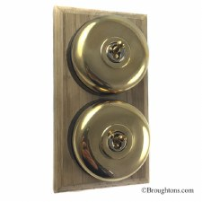 Round Dolly Light Switch on Wooden Base Polished Brass 2 Gang
