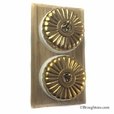 Fluted Round Dolly Light Switch on Wooden Base Polished Brass 2 Gang