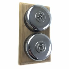 Round Dolly Light Switch on Wooden Base Polished Chrome 2 Gang