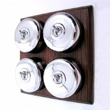 Round Dolly Light Switch on Wooden Base Chrome 4 Gang