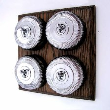 Reeded Round Dolly Light Switch on Wooden Base Chrome 4 Gang