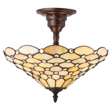 Interiors 1900 Pearl Semi Flush Tiffany Ceiling Light