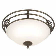 Elstead Pembrooke Flush Ceiling Light Black/Gold